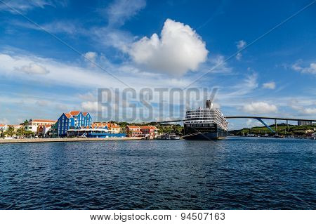Blue And White Cruise Ship In Colorful Curacao