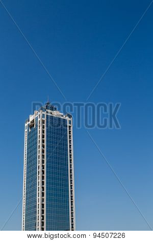 Square Blue Tower With White Corners