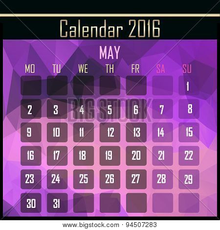 Geometrical Polygonal 2016 Calendar Design For May Month