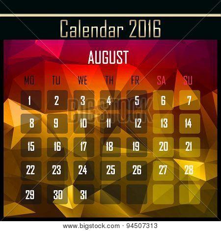 Geometrical Polygonal 2016 Calendar Design For August Month
