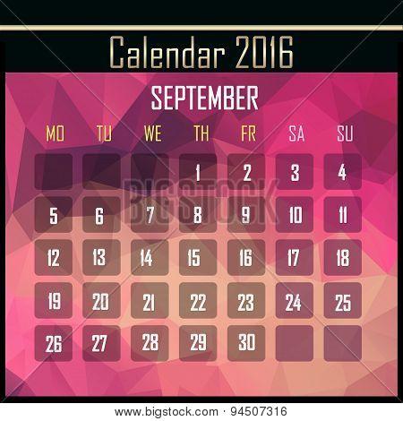 Geometrical Polygonal 2016 Calendar Design For September Month