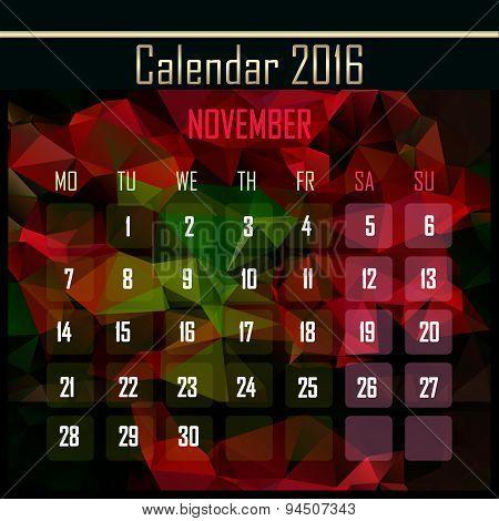 Geometrical Polygonal 2016 Calendar Design For November Month
