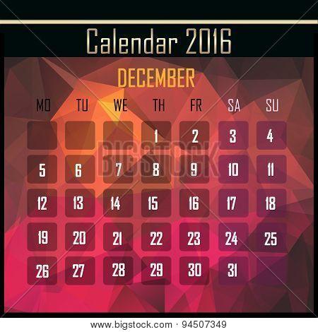 Geometrical Polygonal 2016 Calendar Design For December Month