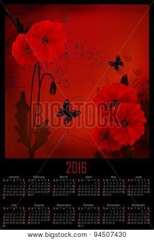 Illustration Calendar For 2016 In Design With Red Poppy