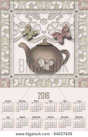 Illustration Calendar For 2016 With Cute Pot