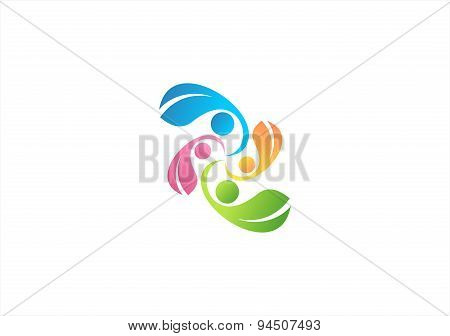 natural family logo, family health care symbol,parent and kid icon, parenting vector design