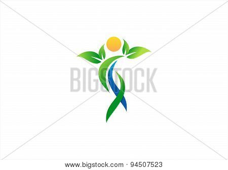 people, plant, wellness, health, logo, human, nature, design vector