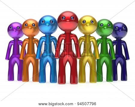 Teamwork Characters Men Crowd Leadership Team Boss