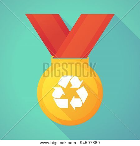 Long Shadow Gold Medal With A Recycle Sign