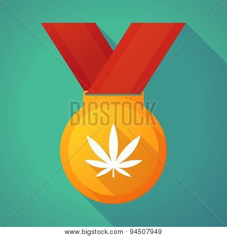 Long Shadow Gold Medal With A Marijuana Leaf