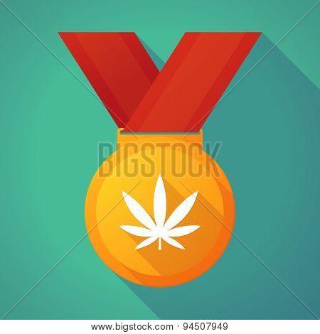 Long Shadow Gold Medal With A Marijuana Leaf