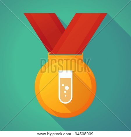 Long Shadow Gold Medal With A Chemical Test Tube