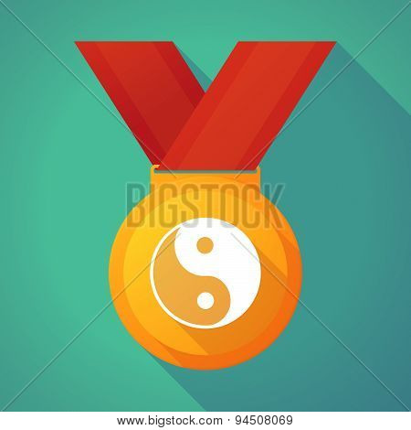 Long Shadow Gold Medal With A Ying Yang