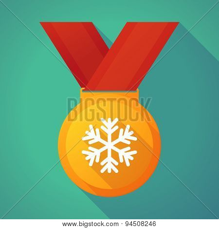 Long Shadow Gold Medal With A Snow Flake