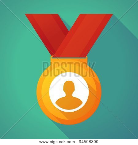 Long Shadow Gold Medal With A Male Avatar
