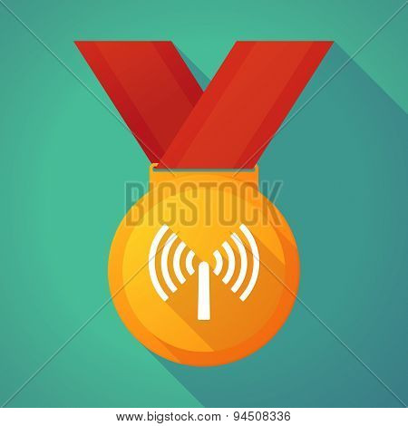 Long Shadow Gold Medal With An Antenna