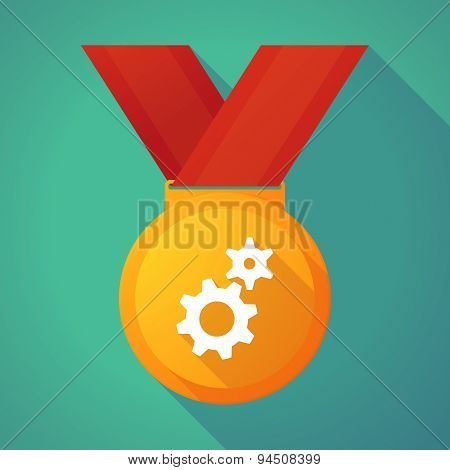 Long Shadow Gold Medal With Two Gears