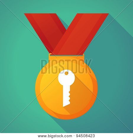 Long Shadow Gold Medal With A Key