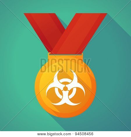 Long Shadow Gold Medal With A Biohazard Sign