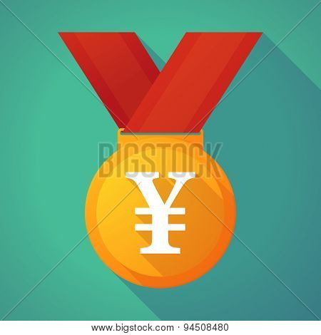 Long Shadow Gold Medal With A Yen Sign