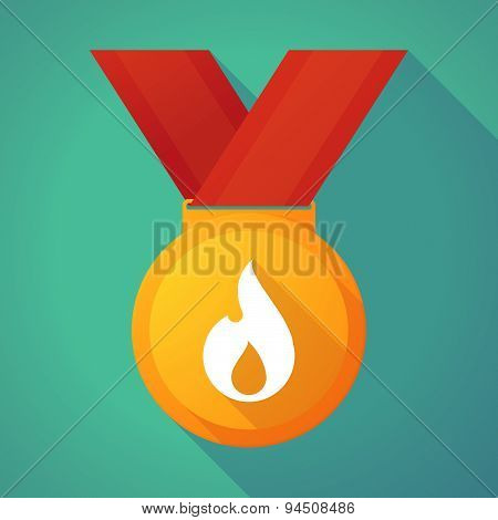 Long Shadow Gold Medal With A Flame
