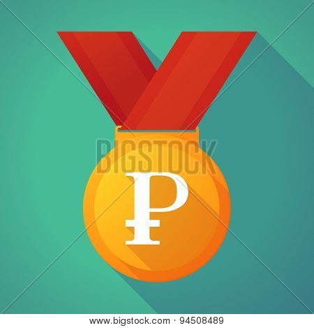 Long Shadow Gold Medal With A Ruble Sign