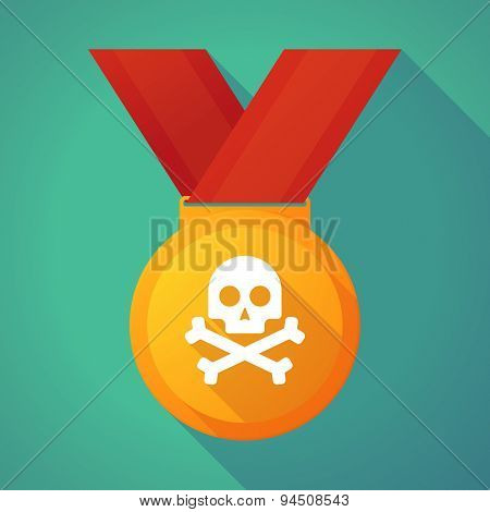 Long Shadow Gold Medal With A Skull
