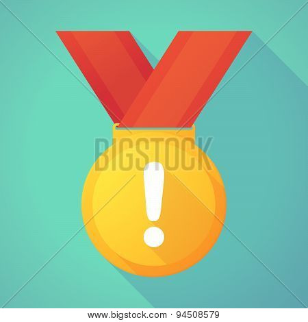 Long Shadow Gold Medal With An Exclamarion Sign