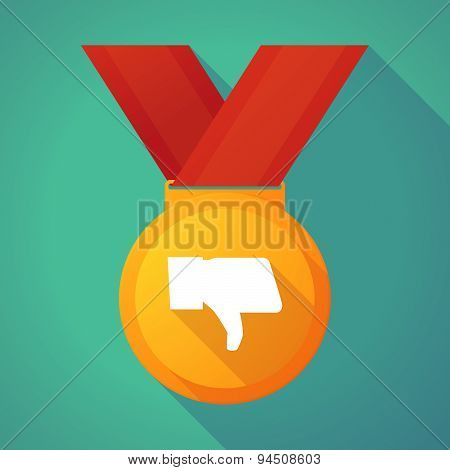 Long Shadow Gold Medal With A Thumb Down Hand