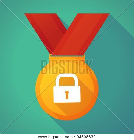 Long Shadow Gold Medal With A Lock Pad