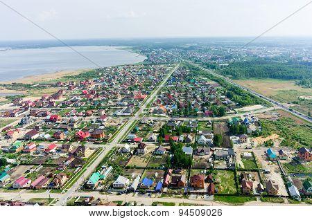 Aerial view onto rural street. Borovskiy. Russia