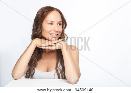Beautiful woman isolated on grey
