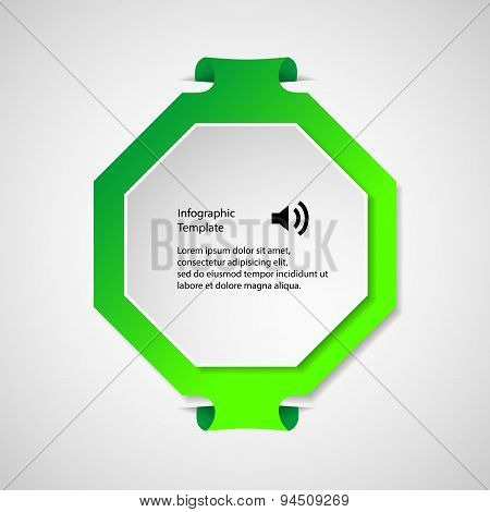 Infographic Template With Green Octagon Shape