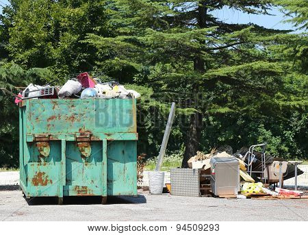 Containers Full Of Garbage And Waste