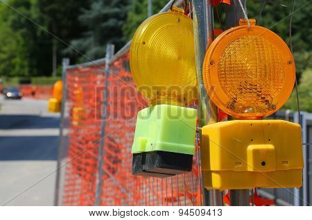 Signal Lamp On Road Excavation