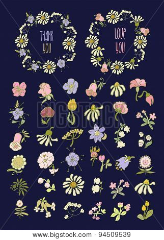 Floral Frame Collection. Set of cute retro flowers arranged