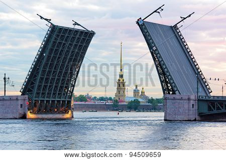 Open Palace Bridge, Neva River, Saint-petersburg, Russia