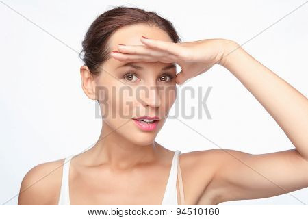 Beautiful woman showing emotions