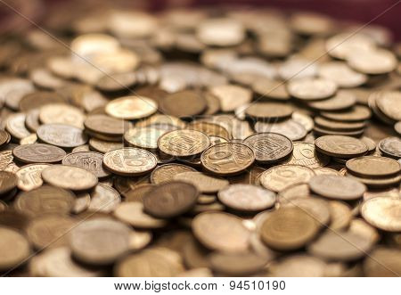 Coins background. hryvnia  cent coins. ucraine cents