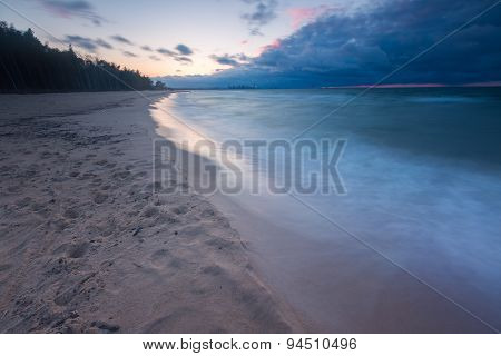 Beautiful Seascape With Baltic Sea Shore After Sunset