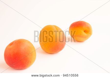 Three Apricots on a White Background