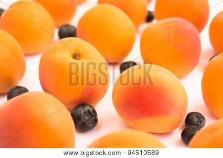 Soft Apricots and Tasty Blueberries in Diagonal Pattern