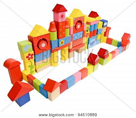 Colored castle made from wooden blocks