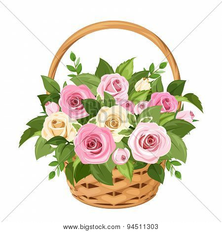 Basket with pink and white roses. Vector illustration.