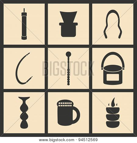 Flat in black and white concept mobile application hookah icons