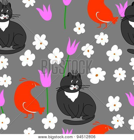 Seamless pattern cat and bird