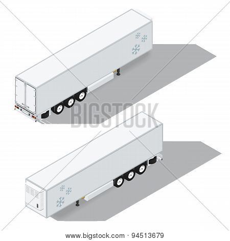 Semi-trailer With A Refrigeration Chamber Detailed Isometric Icons Set