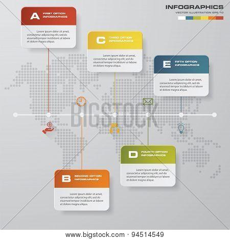 timeline description. 5 steps timeline infographic.