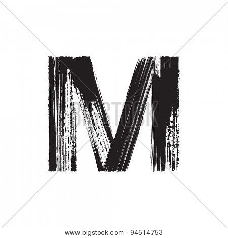 Vector hand paint letter M. Hand drawn letter with dry brush.