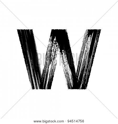 Vector hand paint letter W. Hand drawn letter with dry brush.